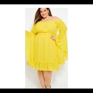 Flirty size 24w Yellow Pheasant dress
